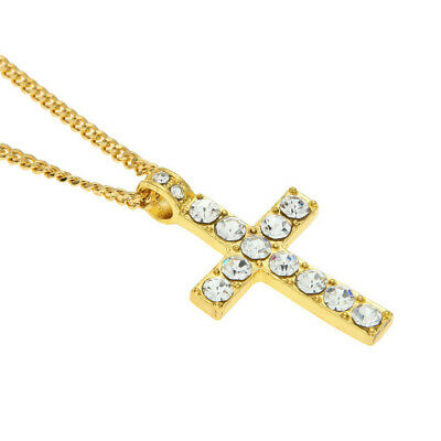 Hip Hop Alloy Cross Pendant Necklace Iced Out Rhinestone Gold Silver Tone