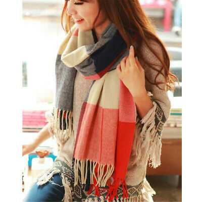 190*50cm Winter Female Wool Plaid Scarf Women Cashmere Scarves Wide Lattice