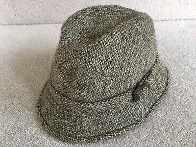 Vintage Dunn & Co Hand Woven Harris Tweed Trilby Hat 100% Wool S. 7 1/4 59cm VGC