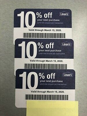 3x Lowes Coupon 10% - Home Depot, Ace & competitors only EXP. March 15, 2020