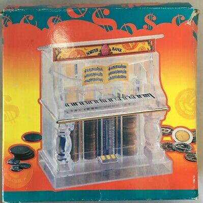 Vintage Clear Lucite Coin-Sorter Piano Bank w/ Gold Trim