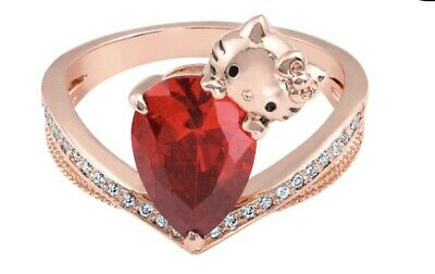 b8152bac3 Fragrant Jewels Hello Kitty Ring Sz 7 NWT CZ Ruby Rose Gold Plated NWT