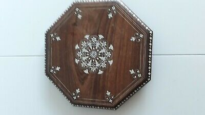 Vintage Hexagonal Oak Board Inlaid With Stone Ornament