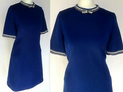 Vintage 60s 70s Mod Navy Blue & White Nautical Scooter Mini Shift Dress M UK 12