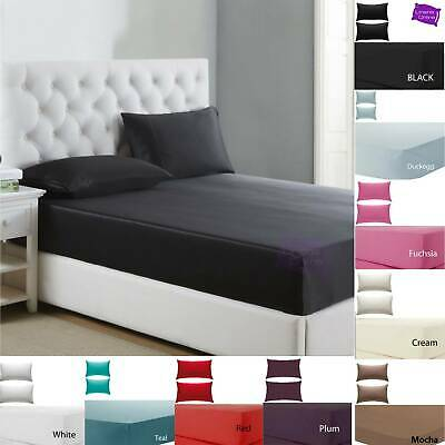"""Percale Extra Deep Fitted Sheet 12"""" / 30cm Box Bed Single Double Super King Size"""