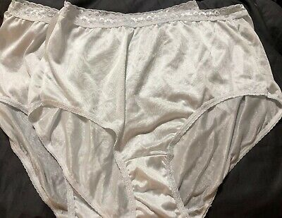 Vintage Nylon Soft Jms Full Brief Granny Panties Size 10 Lot Of 2 Nos