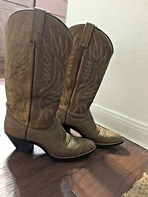 19527bfd5 DAN POST Brown tan TALL Leather WESTERN BOOTS Cowboy Stacked Heel Women's  7.5