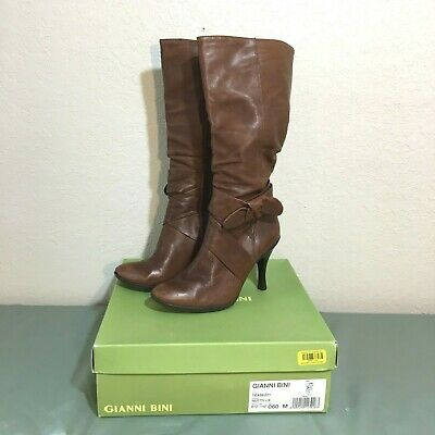 dec0a333d8d GIANNI BINI TEASE Tall Slouch Boots Heel Brown Tan Leather Nutty Size 6  Womens