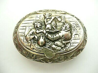 Superb Rare Solid Silver Antique High Relief Oval Dutch Snuff Box Drinking Scene