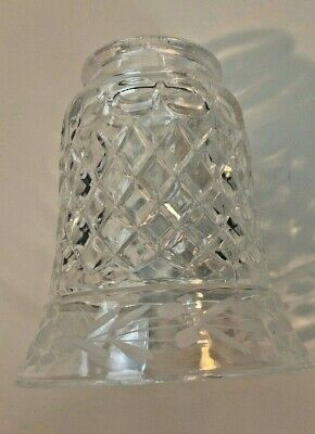 Vintage Clear Etched Glass Hurricane Lamp Shade, Diamond Cut Pattern, Immaculate
