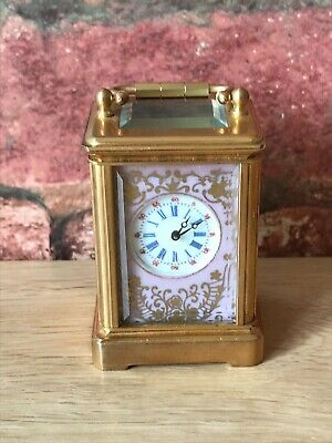 Superb Vintage Austrian Miniature Enamelled Bird & Gilt Boudoir Carriage Clock