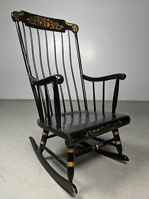 Vintage Nichols & Stone Windsor Style Rocking Chair Black/Gold Harvest