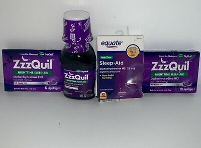 4 ZzzQuil Nighttime Sleep Aid Warming Berry Liquid Liquid Caps And Syrup