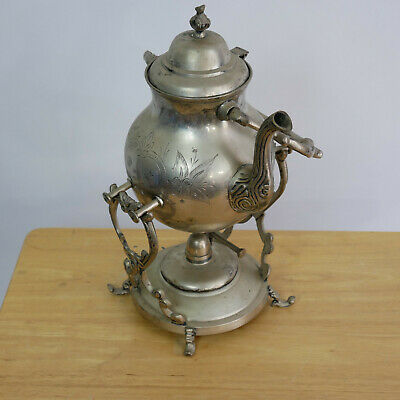Vintage Coffee Tea Server Warmer w. Stand Oil Lamp Silver Plated