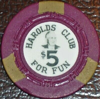 Old $5 HAROLDS CLUB Casino Poker Chip Vintage Antique HCE Mold Reno NV 1959