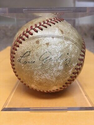 Lou Gehrig Autograph Singed Baseball Rare Yankees Legend Hof Mvp 6 Time Ws Champ