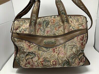 Gloria Vanderbilt Floral Tapestry Brown Faux Leather Carry On Bag Footed Duffle