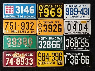 Lot of 12 1953 1954 NMMT Cereal Box Mini License Plate General Mills Wheaties