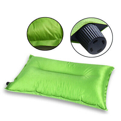 1PCS Outdoor Camping Green Air Inflatable Pillow Folding Flocking Travel Cushion