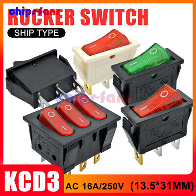 KCD3 2/3/9PIN 16A/250V Boat Rocker Switch 20A/125V Terminals ON/OFF 13.5*31MM