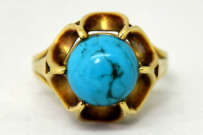 Antique Victorian 14K Solid Gold and Natural Turquoise Ring Size 7