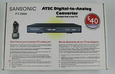 New In Box Sansonic FT-300A ATSC TV Television Digital To Analog Converter