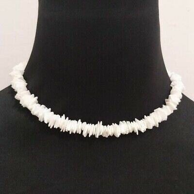 Women White Conch Clam Chips puka Shell Necklace Collar Choker Silver UK