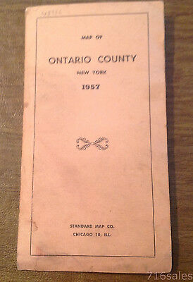 """Vintage 1957 Highway Map of Ontario County New York, Standard Map Co. 17"""" x 19"""""""