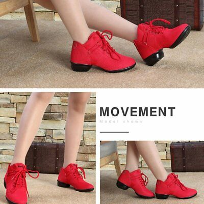 Soft Bottom Breathable Dance Shoes Net Vamps Increased Dance Sneakers Red Ap