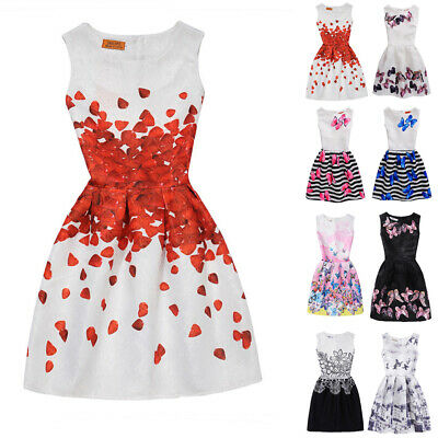 Womens Kids Girls Parent-Child Sleeveless Butterfly A-line Skater Party Dress WA