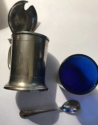 Vintage Silver Plated Mustard Pot With Inner Blue Glass Liner & Spoon