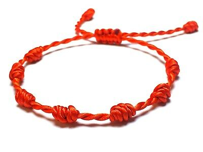 Lucky Red Bracelet 7 knots, luck, KABBALAH, protection, amulet, RED STRING