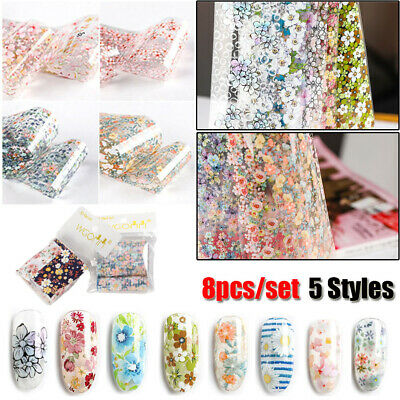 Holographic Flower Nail Foil Decal Starry Flower Nail Art Transfer Sticker Decor