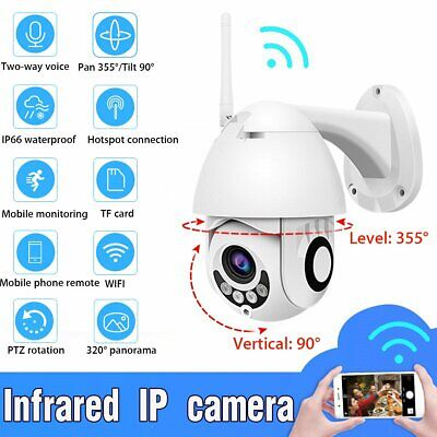 Wireless 5XZOOM Outdoor PTZ 1080P WIFI IP Camera CCTV Home Security Night Vision