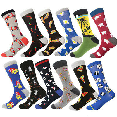 Mens Combed Cotton Socks Novelty Pattern Business Casual Dress Socks For Gifts