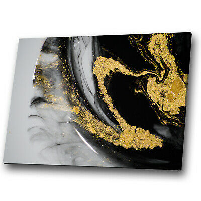 Black Gold White Marble Abstract Canvas Wall Art Large