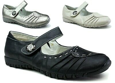 New Ladies Women - Easy Fasten Designer Leather Button Flat Comfort Casual Shoes