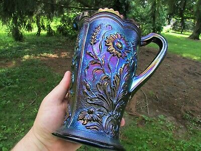 Imperial FIELD FLOWER ANTIQUE CARNIVAL GLASS WATER PITCHER~PURPLE~SPECTACULAR!
