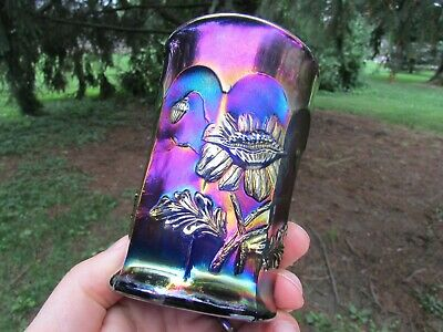 Northwood ORIENTAL POPPY ANTIQUE CARNIVAL ART GLASS TUMBLER~BLUE~SPECTACULAR!