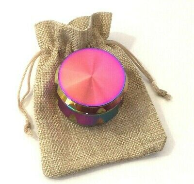 50mm GRINDER PURPLE RAINBOW MAGNETIC METAL 4 PART TOBACCO LEAF WEEDS with POUCH