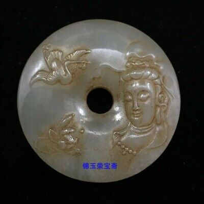 """2"""" Chinese antique Natural handcarved hetian jade guanyin crane statue Pendant"""
