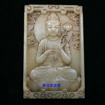 "3"" China antique Natural carved hetian white jade guanyin Buddha statue Pendant"