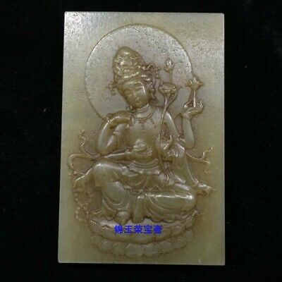 "3"" China antique Natural handcarved hetian jade Six arm guanyin statue Pendant"