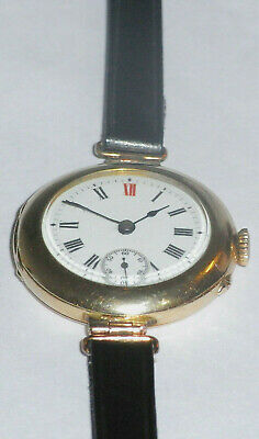 9ct Gold Antique Ladies Watch Red12,London Import 1912 Manual Winding, G/W/O