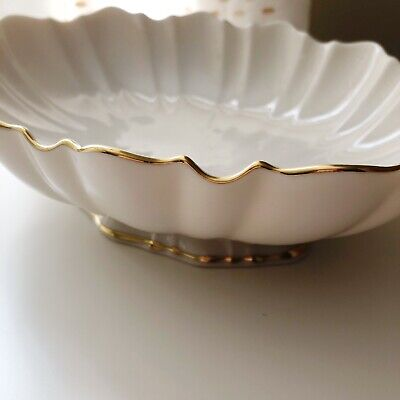 Lenox Symphony Centerpiece Footed Oval Bowl Hand Decorated 24K Gold Scalloped