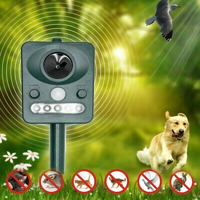 Solar Powered Animal Repeller Outdoor with LED Flash Light Ultrasonic Dog Rats