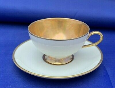 Thomas Ivory Demitasse Tea Cup And Saucer, Simple But Elegant, Germany, Gold