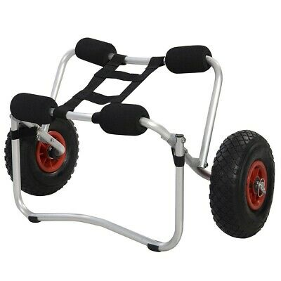 Aluminium Kayak Canoe Boat Trolley Carrier Dolly Transport Cart With Strap