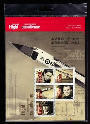 Canada MNH 2019 Canadians in Flight, pane of 5 'P' in original package