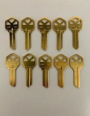 **Lot Of Ten Locksmith Kw1 Key Blanks Fits Kwikset Solid Brass Made In Usa**